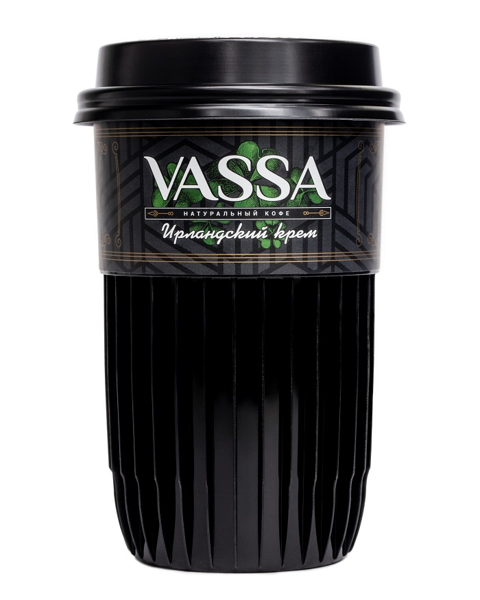 Кофе молотый VASSA в стакане с натуральным сиропом Ирландский крем.